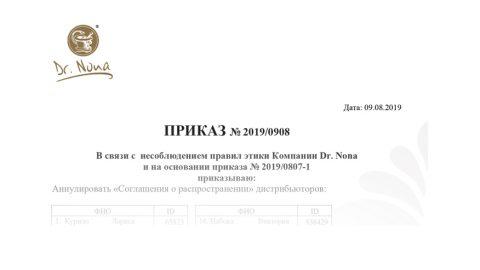 Приказ Президента компании № 2019/0908